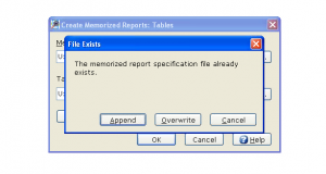 6. Save Memorized Report - Click OK - IMPORTANT: Must click append after first run of tables is set up